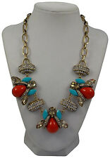 "Elume™ 18"" Multi Shape Cabochon & Rhinestone Station Turqoise Red Coral Necklace"