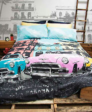 Retro Home Vintage Havana Cars Printed Single Bed Quilt Cover Set New