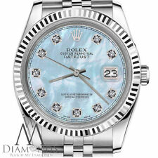 Rolex 31mm Datejust Baby Blue MOP Mother Of Pearl Diamonds Stainless Steel Watch
