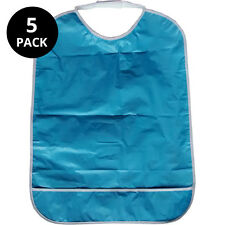 5x Adult dribble bibs with pocket (blue)