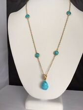 Genuine Kingman Turquoise Silver Vermeil Coin and Nugget Necklace 20 Inches