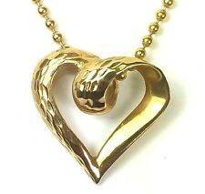 BEAUTIFUL 10 KARAT YELLOW GOLD DIAMOND CUT HEART SLIDER PENDANT