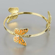 Gold Bangle Orange Butterfly Spring Charm Bracelet