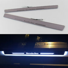 2pcs LED Light Door Sill Scuff Plate Guard Trim Panel For Mercedes C Class W204