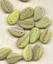 GREAT LIME GREEN STRIPED GLASS LEAF BEADS