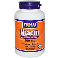 NOW FOODS - NIACIN - 500mg x 250 VEG TABS - SUSTAINED SLOW RELEASE - VITAMIN B-3
