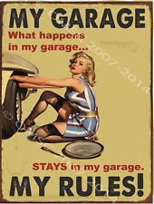 My Garage, My Rules Metal Sign, Sexy Pin Up, Mancave