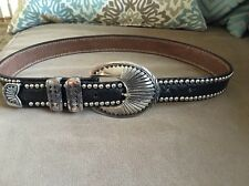 STREETS AHEAD Black Leather Silver Studded Belt Sz S.