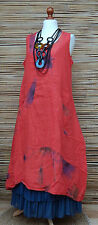 LAGENLOOK LINEN AMAZING 2 POCKETS FLORAL A-LINE LONG DRESS*RED*BUST UP TO 46""