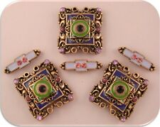 2 Hole Beads Moroccan Style Purple & Green Enamel Crystal Squares & Spacers Qty6