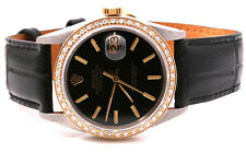 Rolex Mens 18K/SS Datejust Black Dial & Diamond Bezel - Black Leather Strap