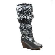 NEW WOMENS LADIES SHINY SNOW RAIN PULL ON WEDGE KNEE HIGH BOOTS SHOES SIZE 3-8