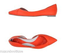 NIB $585 McQ Alexander McQueen watermelon pink leather flats. IT 38 US 8