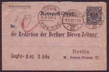 ROHRPOST BERLIN 1892 PRIVATGANZSACHE VIEHMARKTBERICHT (11667)