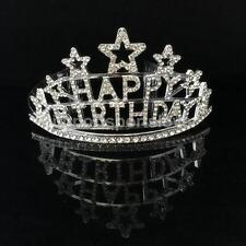 Crystal Star HAPPY BIRTHDAY Tiara Princess Crown Comb Girls Party Headwear