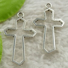 92 pieces tibet silver cross charms pendant 37x21mm #4648 free ship