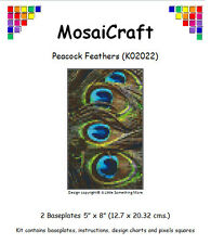 MosaiCraft Pixel Craft Mosaic Art Kit 'Peacock Feathers' (Inc. Dove Tail Clips)