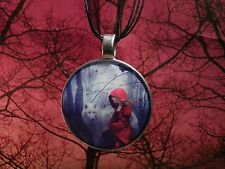 Red Riding Hood and Wolf, Little Red Riding Hood Necklace Extra Large 40mm