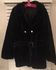 (1705) VTG WOMENS BLACK GOLDTONE BUTTONS FAUX FUR COAT PROBABLY XL With Belt