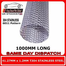 "41.2mm 1.625"" x 40"" (1000mm) Exhaust Repair Pipe Perforated Tube Stainless T30"