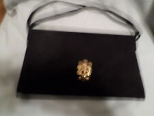 VINTAGE PURSE CLUTCH COBLENTZ GOLD CLASP BLACK SUEDE FORMAL