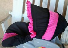 Black cotton w/ pink minky infant car seat cover and hood cover w/ pink ruffle