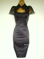 KAREN MILLEN BLACK LACE EMBROIDERY PENCIL DRESS K.M. Size UK 8 EU 34 CHRISTMAS