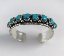 Native American Sterling Silver Navajo Handmade Kingman Turquoise Cuff Bracelet