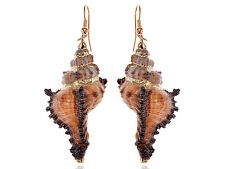 Cute Sandy Brown Colored Seashell Sea Shell Conch Design Fashion Drop Earrings