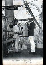 BATEAU DE GUERRE / Scene de bord / MARIN & OFFICIER à la MECHE en 1906