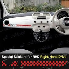 Stickers Fiat 500 Scacchi Rosso dashboard Abarth for Right Hand Drive RHD