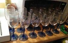 Set of 4 Lenox Cobalt Blue Stem Wine Swag Draped Glasses Goblets Gold Rim 8 oz.