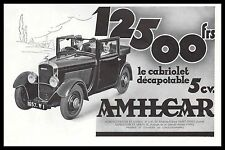 Publicité Automobile Amilcar le Cabriolet 5 cv car photo vintage  ad  1933 - 2h