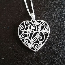 925 Sterling Silver Necklace with Large filligree open heart pendant gift uk
