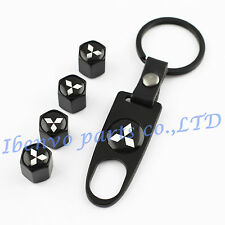 Key chain Metal Black Car Wheel Tyre Tire Stem Air Valve Cap For Mitsubishi