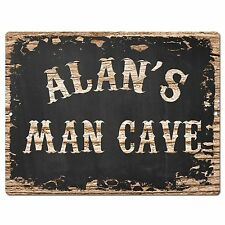 PP1841 ALAN'S MAN CAVE Plate Chic Sign Home Room Garage Decor Birthday Gift