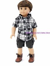 Plaid Shirt & Cargo Shorts Doll Clothes Made For 18 15 in American Girl Boy Doll