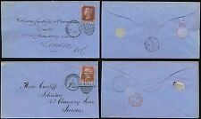 GB QV PENNY REDS CHESTERFIELD + ECKINGTON BACKSTAMP CDS 2 TYPES Plates 165 + 183