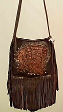 RAVIANI INDIAN HEAD BROWN LEATHER CROSS BODY HANDBAG FRINGE PURSE + COIN PURSE