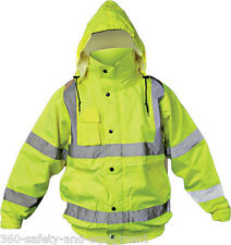 Hi-Vis Class 3 Safety Jacket, Reflective Coat, Bomber Jacket, Size:2XLarge
