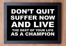 STUNNING FRAMED LIFE INSPIRATIONAL QUOTE / PRINT / POSTER / DON'T QUIT