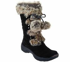 SZ 9 M black BareTraps NEW suede water repellant boots w/ faux fur REI A271015