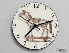 Horse on Wheels Wall Clock - Kids Nursery Room,Teens Room - Wall Clock