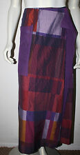 KENZO Purple Color Block Wrap Skirt Pocket Detail 44 12 Lagenlook Plaid Red