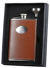 Visol Brown Leather 8oz Stainless Steel Flask w/Funnel Gift Set, Free Engraving