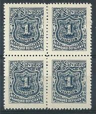 El Salvador 1897 Sc# J25 blue 1c Postage due block 4 MNH