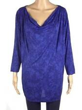 New ex French Connection 2 tone Royal Mid Blue Batik Tunic Cowl Neck Top L