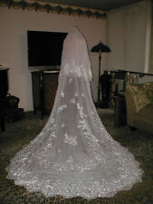 Vintage Lace Chiffon Mantilla Bridal Veil in white