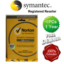 Norton (internet) Security Antivirus Todo en Uno 10 Pcs 1 año 2017 Reino Unido minorista