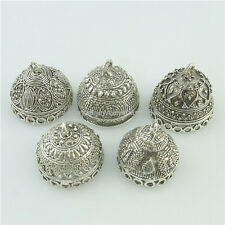 Alloy Tibetan Silver Buddhism Round Beads Cap For Tassels Charm